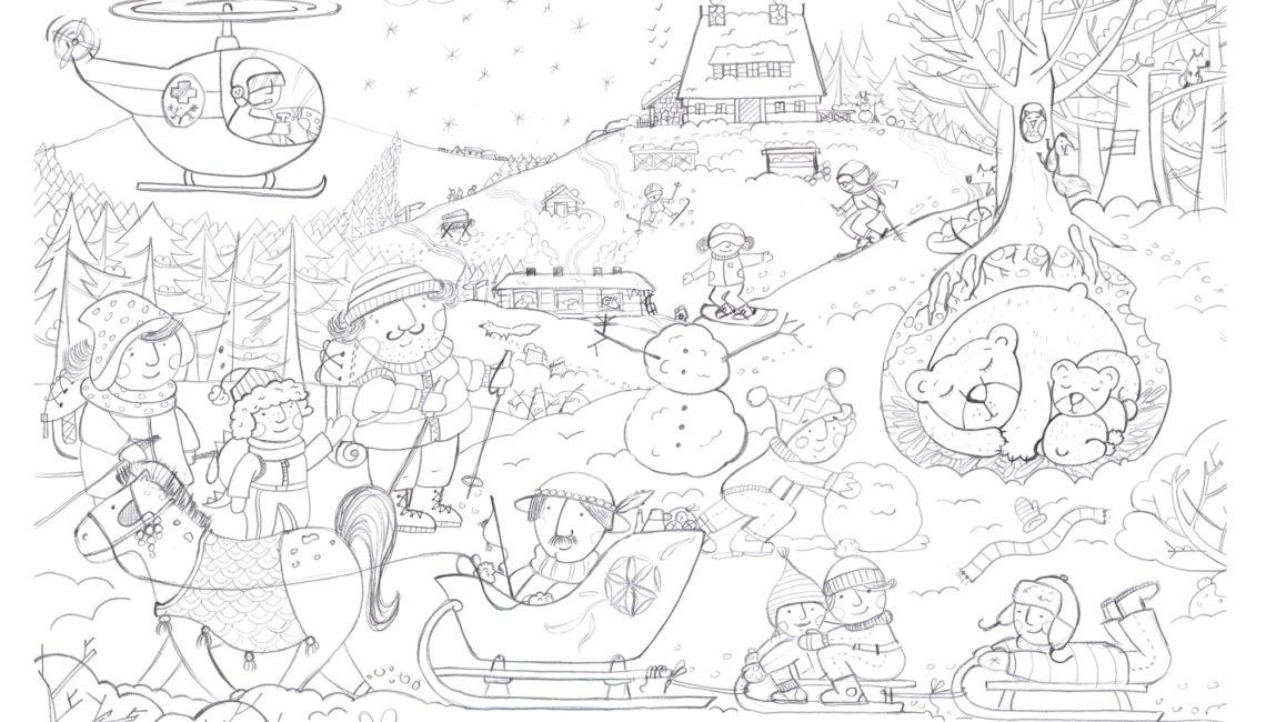 Ilustracja w kresce góry zimą