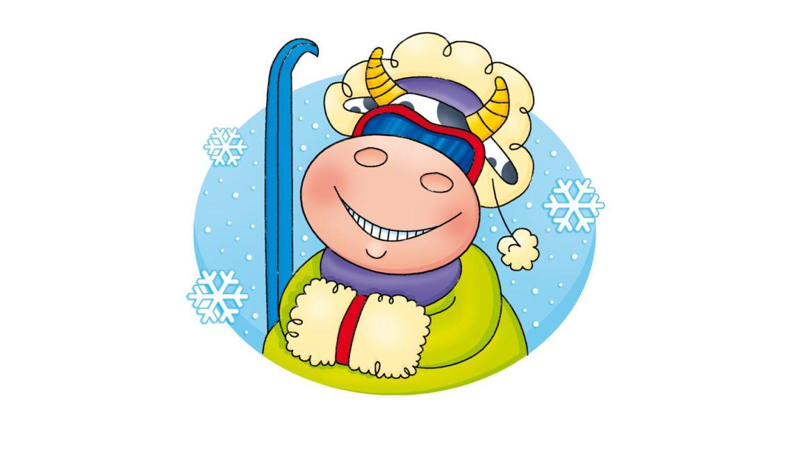 Ilustracja krowa narciarz